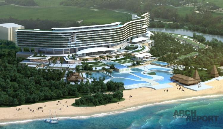 项目名称:海南威斯汀度假酒店 设计者:GAD集团 项目类型:酒店 项目规模:78 300 设计/竣工:2010年 本项目位于海南陵水清水湾,项目周边地理环境优越,是建造高档休闲度假酒店的理想场所。项目限高36米,共有340个酒店自然间和40个度假别墅,同时配备多个特色餐厅及休闲娱乐设置。酒店主体造型以柔和的水平曲线为主,配合底层松散的海滨特色餐厅及休闲设施,共同营造出高档闲适的海滨度假酒店。