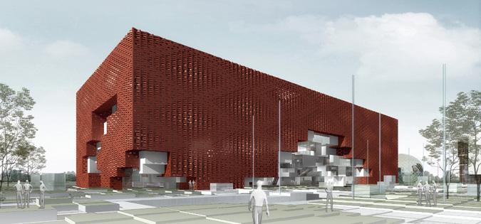 在第一轮的设计方案中,着力通过建筑空间实现对整个区域进行人文融合