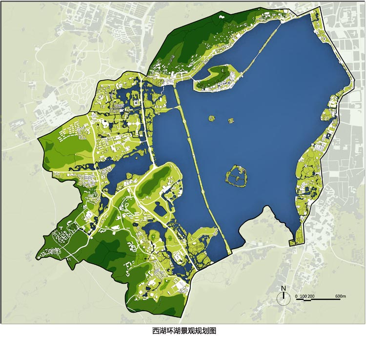 """西湖西进区域的规划与杭州市园林设计院完成的西湖东线、南线、北线的规划一起作为一个完整项目,获得了2010年度国际风景园林师联合会亚太区(IFLA APR)风景园林奖景观规划类主席奖,并获得2010年度美国风景园林师协会(ASLA)分析与规划类荣誉奖。评审团的评价是:""""我们很乐意看到这个项目的实施,因为它是一个伟大的解决方案,创造了一个将会成为该地区人们休闲和文化庇护所的美丽的景观经验。同时项目传递了一个积极的信息,显示了景观在促进更好的环境质量方面的潜力。"""""""